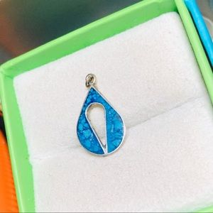 Sterling Silver Turquoise Inlay Teardrop Pendant
